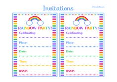 Free Printable Rainbow Party Invitations Birthday Parties 3rd