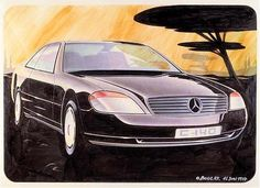 Mercedes-Benz C140 design rendering by Olivier Boulay dated June 1987