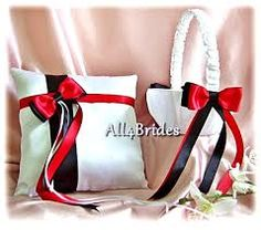 Red and Black Wedding Flower Girl Basket Ring Bearer Pillow - Weddings Accessories Ceremony Decor - Ring Cushion and Basket Set Ring Holder Wedding, Ring Pillow Wedding, Wedding Rings, Red Wedding, Wedding Colors, Wedding Ideas, Wedding Stuff, Wedding Planning, Wedding Decorations