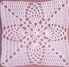 Pineapple Granny Square: free pattern ༺✿Teresa Restegui http://www.pinterest.com/teretegui/✿༻