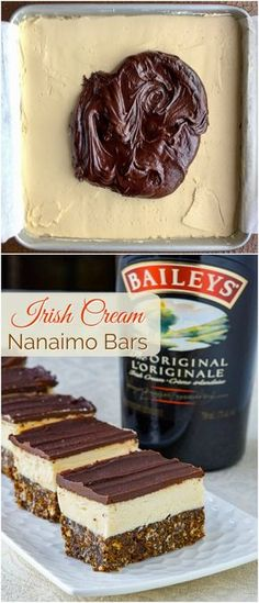 Irish Cream Nanaimo Bars - could this be Bailey's at its best? Irish Cream Nanaimo Bars - one of Canada's favourite tipples meets one of the country's iconic cookie bar treats. An absolute must for the Holiday freezer! Köstliche Desserts, Delicious Desserts, Dessert Recipes, Freezer Desserts, Irish Desserts, Asian Desserts, Bar Recipes, Freezer Cooking, Cream Recipes