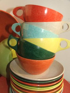 25 pc Coloramic Melmac Modern Dinnerware by PurpleHippie on Etsy, $49.00