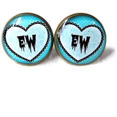 Drippy Spooky Cute Conversation Heart ew Stud Earrings - Soft Grunge... ($10) ❤ liked on Polyvore