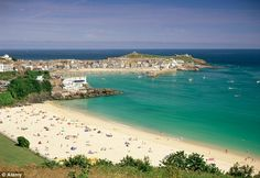 St Ives is voted top UK beach resort in TripAdvisor's best beach destinations - - A view of Porthminster beach and harbour in St Ives, Cornwall. This place is great for boutique shopping with fine restaurants and amazing properties to look at! St Ives Cornwall, Devon And Cornwall, Cornwall England, West Cornwall, Yorkshire England, Yorkshire Dales, England Uk, London England, Best Uk Beaches