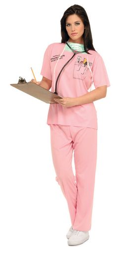 29b8c00b2c1 Details about Womens Pink Nurse Costume Outfit Scrubs Stethescope Doctor  Mask Dr Fancy Dress