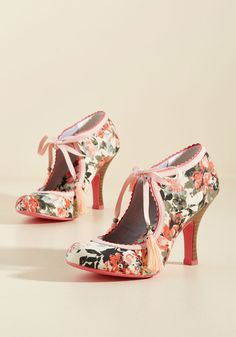 Garden Party Glam Heel in Melon. Vibrantly sketched vines in shades of navy, ash, and blooming pink pop on the cream-colored background of this garden-party-perfect heel!  #modcloth
