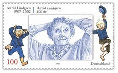 Astrid Lindgren 100 year in 2007 - German stamp