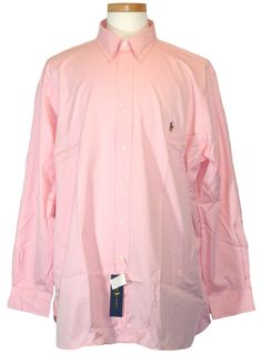 Ralph Lauren Mens Polo Dress Shirt Button Front Pink Big Tall 18 36/37 NEW $95 #RalphLauren #FlatFront