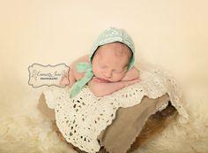 Newborn Baby Lace Bonnet Vintage Inspired by PhotoPropsByMissLene, $26.00