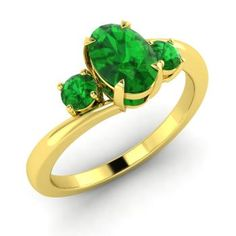 http://rubies.work/0700-sapphire-ring/ Oval-Cut Emerald Ring in 10k Yellow Gold