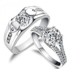 3 Carats His and Her matching antique style cz Wedding Ring Set for Couples