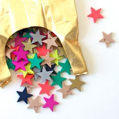 Play time ~ Colorfull wooden stars in wonderful golden bag, by Tanabata. Gift between the stars..