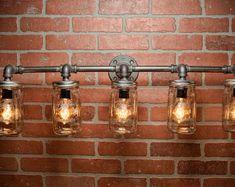 Mason Jar Light Fixture  Industrial Light Light  Rustic от TMGDZN