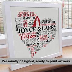 Printable File  Ruby Anniversary Word Art. by AliChappellUK, £15.00