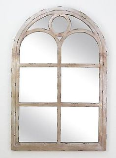 COTTAGE DISTRESSED SILVER FINISH WOOD ARCH  TOP WINDOW PANE MIRROR,36''H.