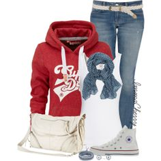 Hooded sweatshirt and Converse, created by immacherry on Polyvore