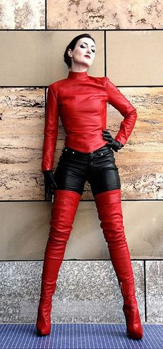 Fitted red leather top black leather pants red thigh boots