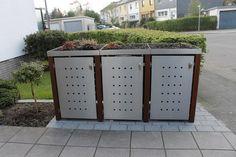 In die Mülltonnenbox Edelstahl Bangkiraipfosten können Sie insgesamt drei Mülltonnen von bis zu 240 Liter stellen und unter 3 Dächern wählen.