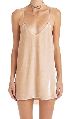 Crushed Velvet Zillah Slip Dress - Blush (custom made)