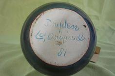 1981-VTG-Dryden-Original-Studio-Art-Pottery-Incised-Vase-Aqua-Teal-Brown