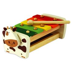 Kids Wooden Toys - Educational Toys - Fun, educational and guaranteed to entertain!  Cow Xylophone by Artiwood Toys!  Produced from sustainable rubber wood and finished with non toxic paint  - wooden educational toy at it's best!  #educationaltoys #kidswoodentoys #ecofriendlytoys #giftsforkids #musicalplay #toysonline #littlebooteek