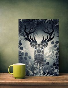 THE FRIENDLY STAG (BLACK POSTER MADE OUT OF METAL) $69 #home #deco #walldeco #metalposter #metalprint #popular #new #monikastrigel #poster metal #abstract #white #white #animals