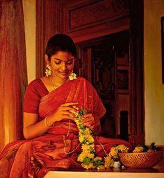 Teen - 6 - Teen: Classic Paintings of Tamilnadu Women Indian Women Painting, Indian Art Paintings, Classic Paintings, Beautiful Paintings, Oil Paintings, Indian Artwork, Realistic Paintings, Beautiful Drawings, Indian Folk Art