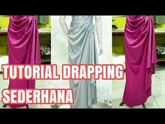 TUTORIAL SEMI DRAPPING SEDERHANA - YouTube Drape Dress Pattern, Gown Pattern, Coat Patterns, Clothing Patterns, Sewing Patterns, Sewing Stitches, Drape Gowns, Draped Dress, Dress Tutorials