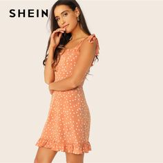 To find out about the Tied Shoulder Frill Trim Polka Dot Dress at SHEIN, part of our latest Dresses ready to shop online today! Long Summer Dresses, Dresses For Teens, Winter Dresses, Cute Dresses, Casual Dresses, Dresses For Work, Dress Outfits, Fashion Dresses, Pastel Fashion