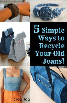 5 Simple Ways to Recycle Your Old Jeans! - Fabulessly Frugal - 5 Simple Ways to Recycle Your Old Jeans! – Fabulessly Frugal Der DIY-Wahnsinn (Do it yourself) in - Jean Crafts, Denim Crafts, Recycling, Diy Sac, Ways To Recycle, Diy Clothing, Recycled Clothing, Recycled Fashion, Recycled Denim