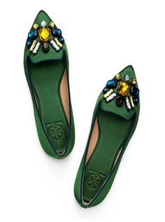 Embellished Satin Smoking Slipper #flats