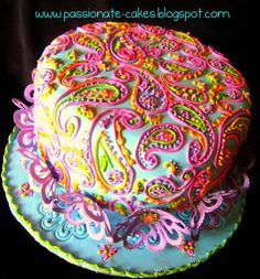 Paisley birthday cake. So I am in love with paisley cakes now. yusssss