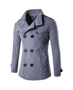 XL, Gris OverDose Hombres de invierno Slim elegante Trench Coat Double Breasted Chaqueta larga Parka