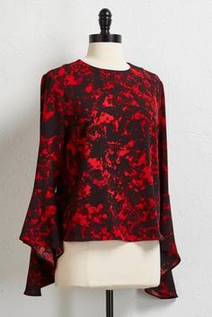 Versona floral bell sleeve top #Versona