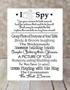 I SPY Wedding Game DIY Printable, Photo Challenge. Keepsake Game. Wedding Reception. 5 X 7 in. 2 per sheet, Wedding Games on Etsy, $10.00 (scheduled via http://www.tailwindapp.com?utm_source=pinterest&utm_medium=twpin&utm_content=post4552566&utm_campaign=scheduler_attribution)