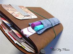 Midori Travelers Notebook Pen Holder - Felt Pen Holder with Chevron Elastic - Pencil Case - Travelers Notebook Fabric Insert