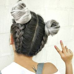 French Braided Buns ✌🏻️ very cute hairstyle with gray hair
