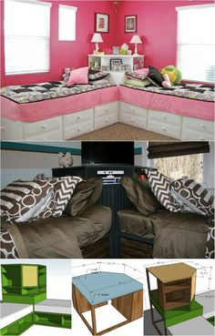 How to Build a Corner Unit for Twin Storage Beds (Free Plans) 1472 195 1 Lisa Vanessa Vanessa Beaty DIY Katelyn Recio This is really cool I will go with the top one. Bed In Corner, Corner Unit, Corner Twin Beds, Girl Room, Girls Bedroom, Bedroom Decor, Baby Bedroom, Bedrooms, Trendy Bedroom