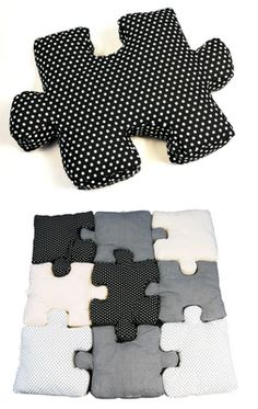 Puzzle piece pillows... these will go great w/ the big remote pillow!