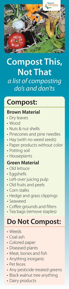 A quick printable list of what to compost and what not to compost. If you click through, to our website version it goes more in-depth and even includes common issues with #compost piles and how to debug compost issues. #Recycle #OrganicGardening