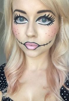 ^_^  Easy Makeup Tutorials #4 - Doll Face Halloween Makeup Ideas