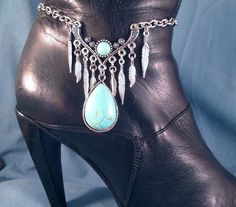 Turquoise Silver BOOT Chains Boot Jewelry Boot by DebsTreasures