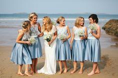 Bridesmaid Dresses Beach Relaxed Stylish Cornflower Blue Seaside Wedding http://fraserstewartphotography.co.uk/