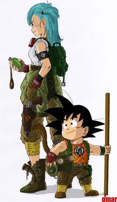 Son Goku and Bulma by ~WindWak3r