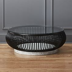 Shop Haven Round Rattan Coffee Table with Glass Top. There are no words to explain the perfection of this table. Tüllmann, whose fresh take on furniture we love. Second, it's insanely chic. Coffee Tables For Sale, Black Coffee Tables, Round Coffee Table, Modern Coffee Tables, Modern Side Table, Marble Top Coffee Table, Rattan Coffee Table, Coffee Table Design, Steel Furniture