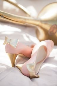 pink and gold bow heels.