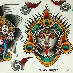 Vintage Flower Tattoo, Vintage Flowers, Kali Tattoo, Tattoo Ideas, Tattoo Designs, Kali Ma, Kali Goddess, Durga Maa, Little Tattoos