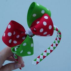 Christmas Polka Dot Woven Headband with Bow by angelhaircreations