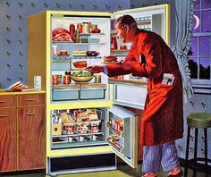 A midnight snack for Dad, 1959.