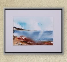 Watercolors-Original Watercolors Painting on Aquarelle, Landscape Aquarelle, Seascape Painting, Wall Art, Beach, Sea, Sky, Watercolors Art
